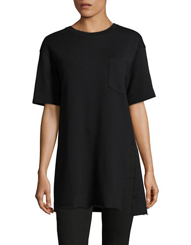 Mo & Co Printed Cotton Tee-BLACK-Small