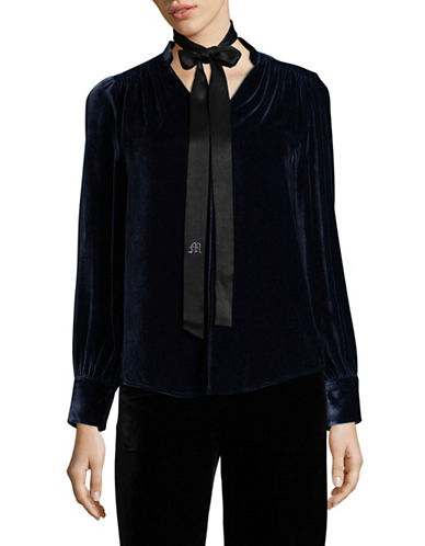 Mo & Co Velvet V-Neck Blouse-BLUE-Small