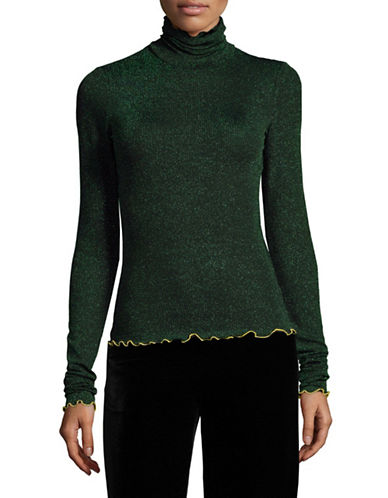 Mo & Co Metallic Turtleneck-GREEN-Large