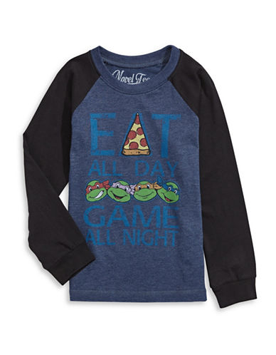 Licensed Tees Ninja Turtles Eat and Game T-Shirt-NAVY-4 plus size,  plus size fashion plus size appare