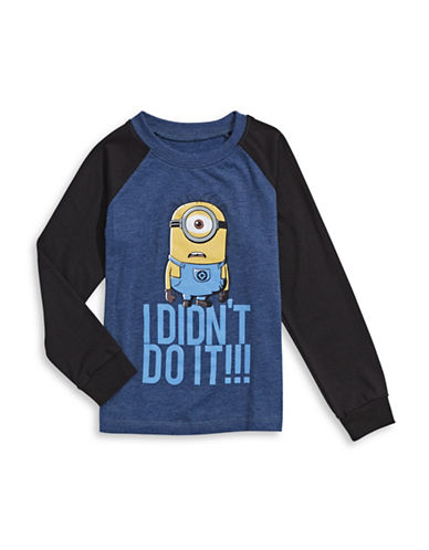 Licensed Tees Minions Long Sleeve T-Shirt-NAVY-6X plus size,  plus size fashion plus size appare