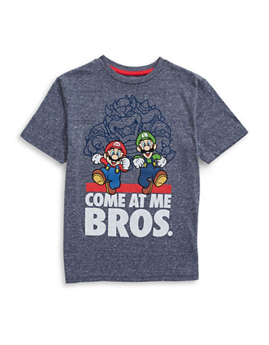 Licensed Tees Come At Me Bros T-Shirt-BLUE-X-Large