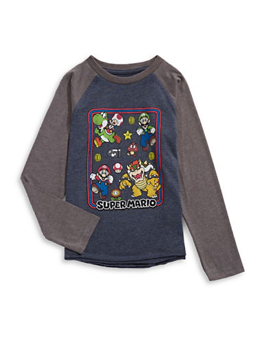 Licensed Tees Super Mario Raglan Sleeve T-Shirt-WHITE-6