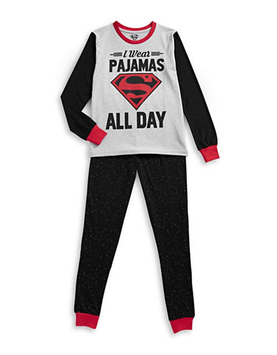 Ntd Two-Piece Superman Pyjama Set-GREY-Large