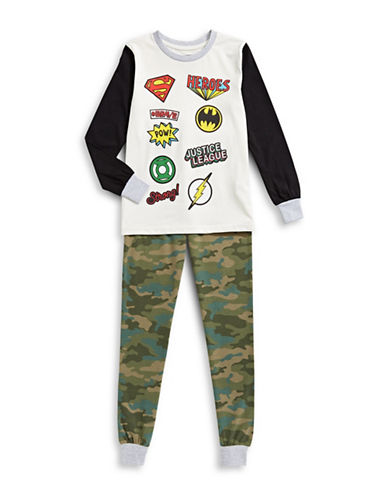 Ntd Two-Piece Justice League Logo Pyjama Set-WHITE-10-12