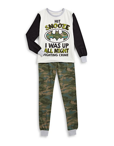 Ntd Batman Two-Piece Pyjama Set-WHITE-Small