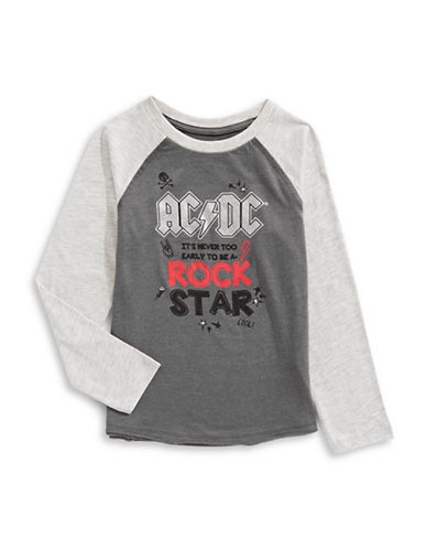 Licensed Tees ACDC Raglan Sweatshirt-GREY-6X