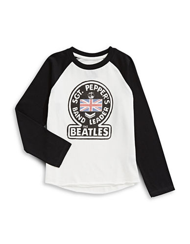 Licensed Tees Sgt Peppers Band Leader Beatles Baseball Tee-WHITE-4