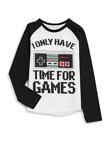 Licensed Tees Classic Nintendo Baseball Tee-WHITE-Large