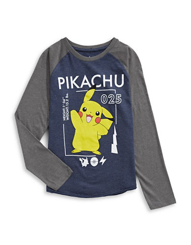 Licensed Tees Pikachu Baseball Tee-BLUE-Medium
