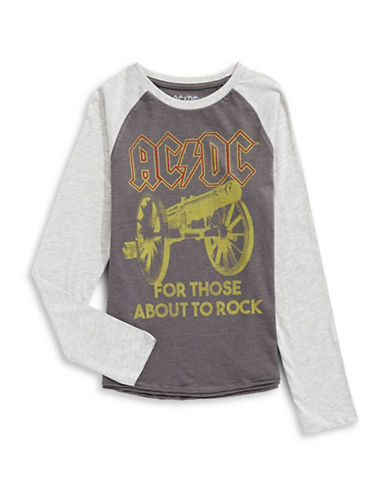 Licensed Tees AC DC Baseball Tee-GREY-Large 89609468_GREY_Large