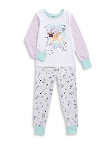 Novel Teez Two-Piece Pugicorn Pyjama Set-PURPLE-6X