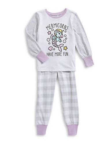 Novel Teez Two-Piece Mermicorns Pyjama Set-GREY-5
