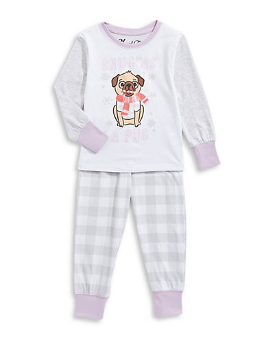 Novel Teez Two-Piece Snug Pug Pyjama Set-GREY-5
