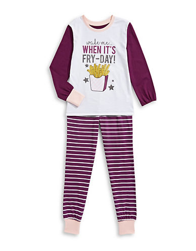 Novel Teez Two-Piece Fry-Day Pyjama Set-PURPLE-7-8