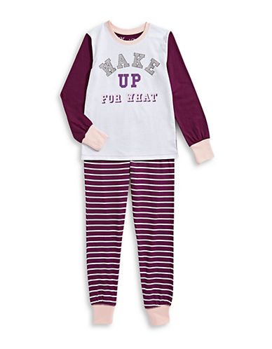 Novel Teez Two-Piece Wake Up Pyjama Set-PURPLE-14