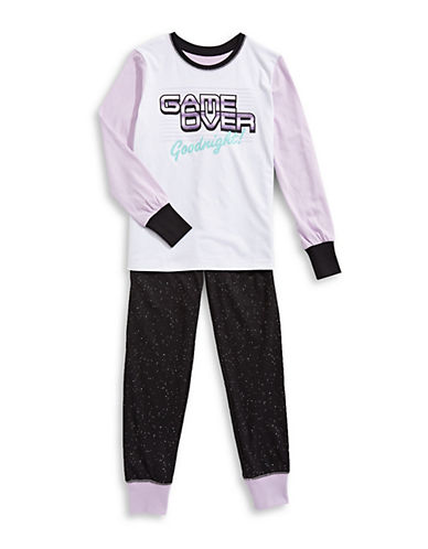 Novel Teez Two-Piece Game Over Pyjama Set-PURPLE-10-12