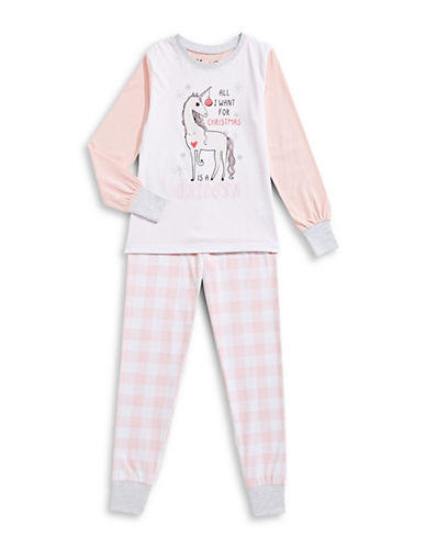 Novel Teez Two-Piece Christmas Unicorn Pyjama Set-PINK-14
