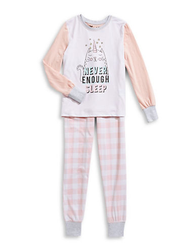 Novel Teez Two-Piece Kitty Pyjama Set-PINK-7-8