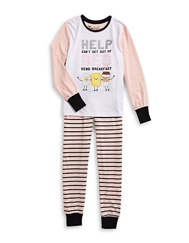 Novel Teez Two-Piece Help Bed Pyjama Set-PINK-7-8