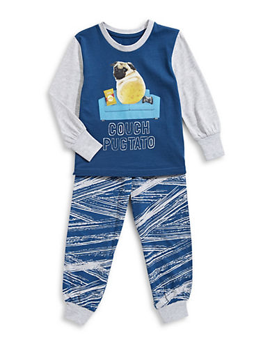 Novel Teez Two-Piece Pugtato Pyjama Set-BLUE-4