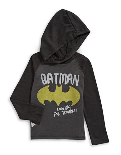 Licensed Tees Batman Raglan Hoodie-GREY-3X