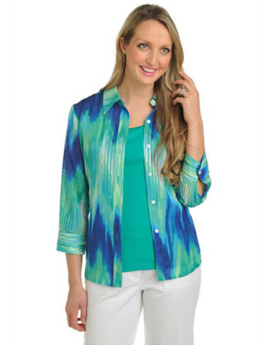 Plus Size 3/4 Sleeve Shirt Collar Button Front blue/green 16
