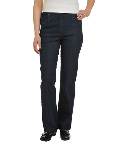Allison Daley Stretch Denim Slim FX Classic Curvy 5 Pocket Straight Leg Pant-BLUE-16