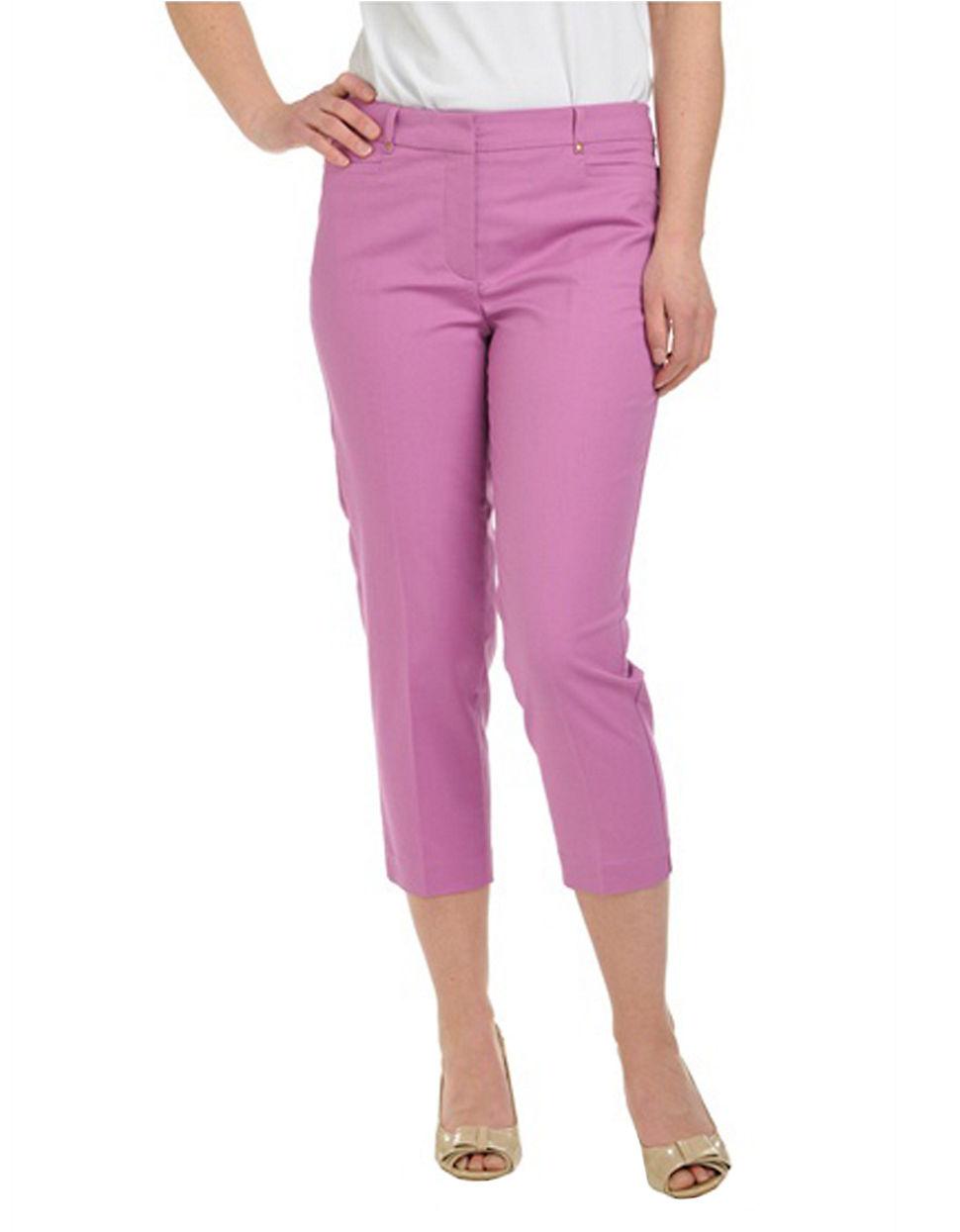 Plus Size Comfort Waist Straight Leg Wide Waistband L Pocket Capri purple 22 W