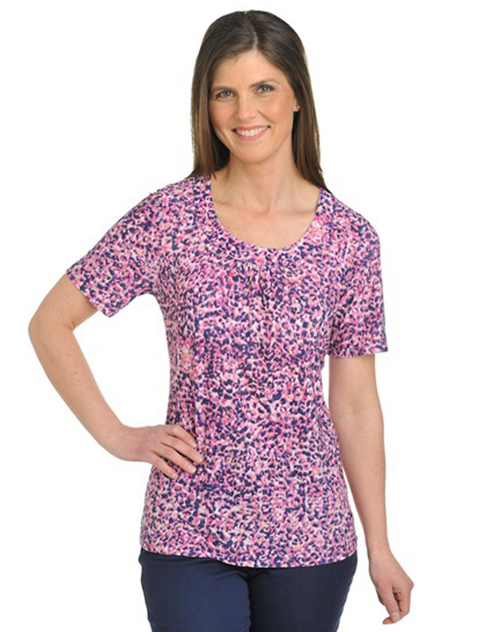 Plus Size Short Sleeve Scoop Neck Shirt with Banding and Shirring purple 1X