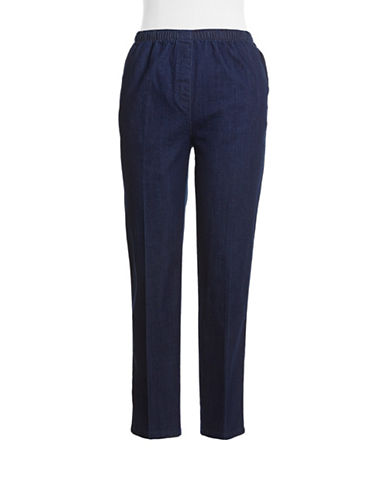 Allison Daley Pull On Faux Fly Jeans-BLUE-8