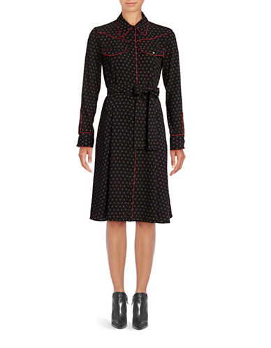 Mo & Co Printed Shirtdress-BLACK-Small