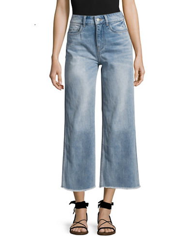 Mo&Co. Edition10 Wide Leg Fringed Crop Jeans-BLUE-28