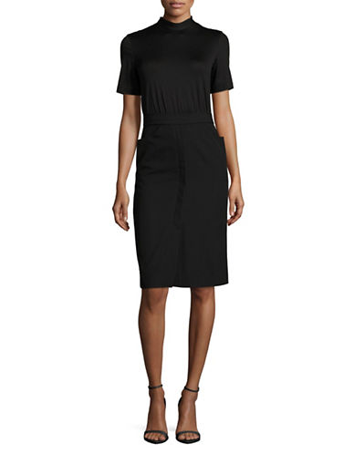 Mo&Co. Edition10 High Neck Tie-Back Sheath Dress-BLACK-Small