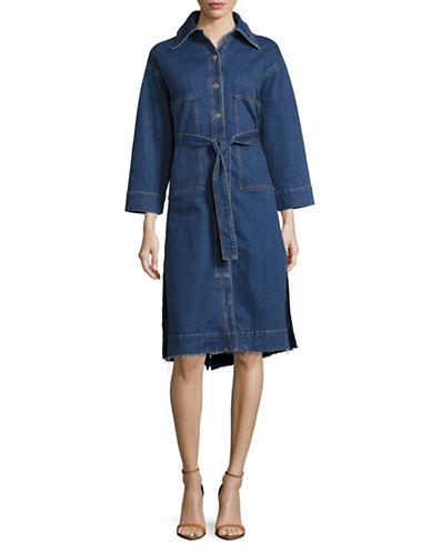 Mo&Co. Edition10 Belted Denim Dress-BLUE-Medium