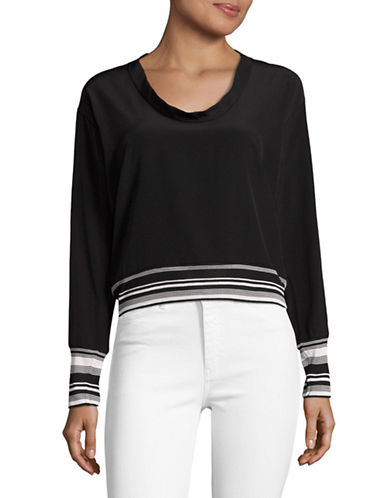 Mo&Co. Edition10 Striped Choker-Back Silk Top-BLACK-X-Large 89080701_BLACK_X-Large