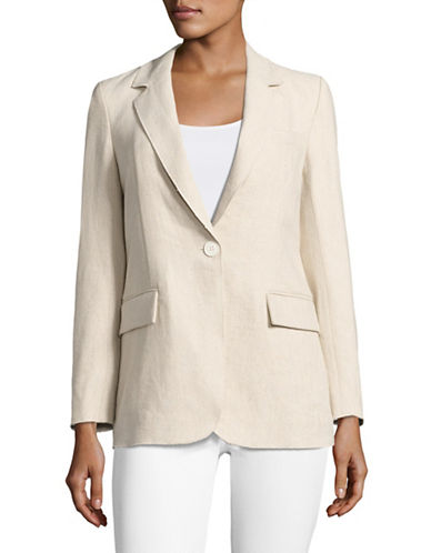 Mo&Co. Edition10 Single-Button Blazer-NATURAL-X-Large