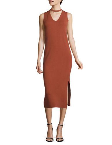 Mo&Co. Edition10 Choker-Neck Knit Dress-CHUTNEY-X-Small