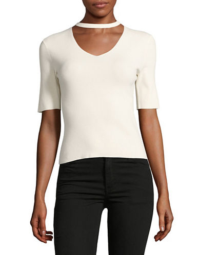 Mo&Co. Edition10 V-Neck Cashmere-Linen Sweater-NATURAL-X-Large