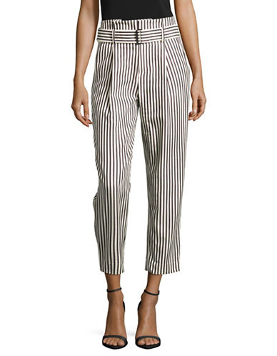 Mo&Co. Edition10 Striped Paperbag Pants-BLACK/WHITE-Large