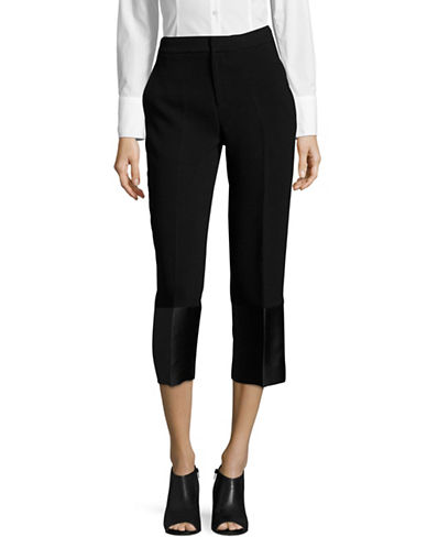 Mo&Co. Edition10 Satin Cuff Cropped Trousers-BLACK-X-Large