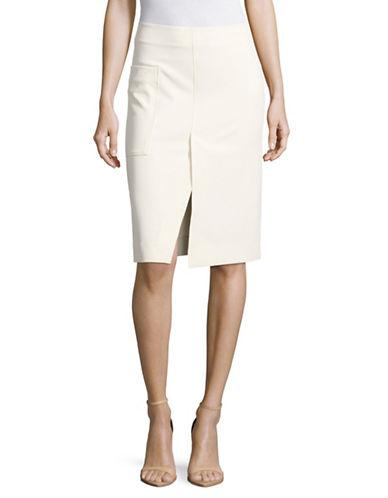 Mo&Co. Edition10 Midi Ring-Zip Bodycon Skirt-WHITE-Small