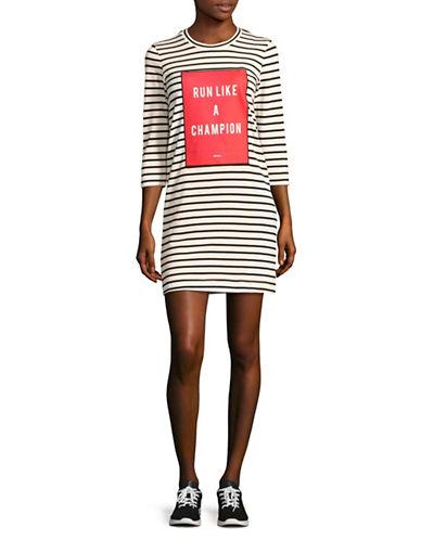 Mo & Co Champion Striped Knit Dress-BLACK MULTI-Medium
