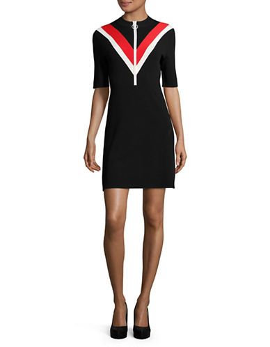 Mo & Co Chevron Bodycon Dress-BLACK-X-Small