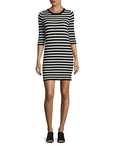 Mo & Co Striped Lace-Up Sheath Dress-BLACK-Medium