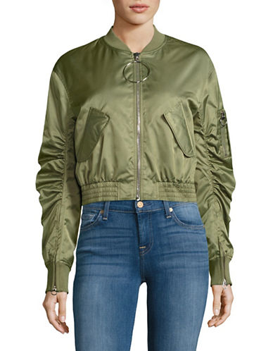 Mo & Co Cropped Bomber Jacket-GREEN-Small 88973564_GREEN_Small