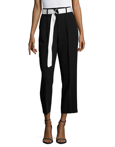 Mo & Co Belted High-Waist Pants-BLACK-Small