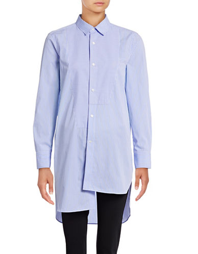 Mo & Co Asymmetric Striped Shirt-BLUE-X-Small