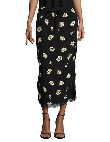 Mo & Co Floral Slip Skirt-BLACK-X-Small