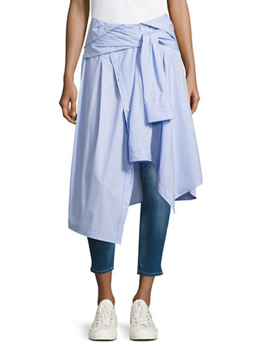 Mo & Co Striped Tie-Front Shirting Skirt-BLUE-Large